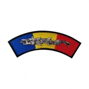 Drapel Romania semirotund cu lupul dacic
