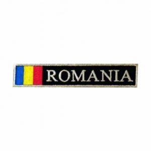 Ecuson Romania cu Drapel cu fir metalic argintiu