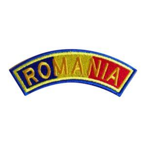 Drapel semirotund Romania cu contur albastru