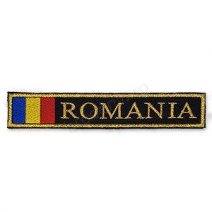 Ecuson drapel Romania negru fir auriu