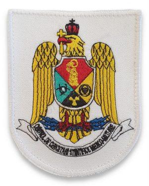 Emblema centrul de cercetari stiintifice medico militare alb