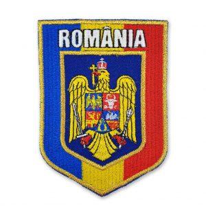 Emblema stema Romania incadrata in drapel